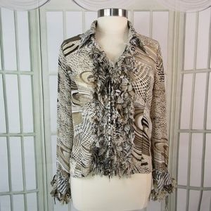 Violet & Claire Sheer Blouse Animal Print Chiffon
